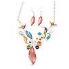 Matt Pastel Multicoloured Enamel Leaf Necklace and Stud Earrings In Light Silver Tone - 45cm L/ 7cm Ext