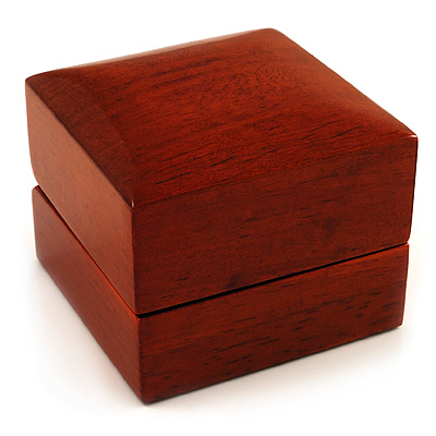 Luxury Wooden Light Brown Mahogany Ring Box - main view