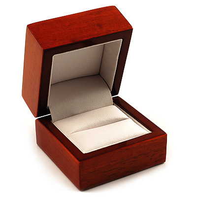 Luxury Wooden Light Brown Mahogany Ring Box
