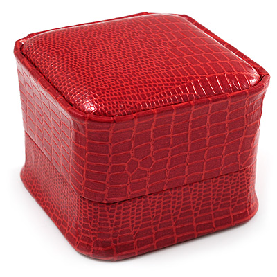 Red Snake Leather Style Box for Rings