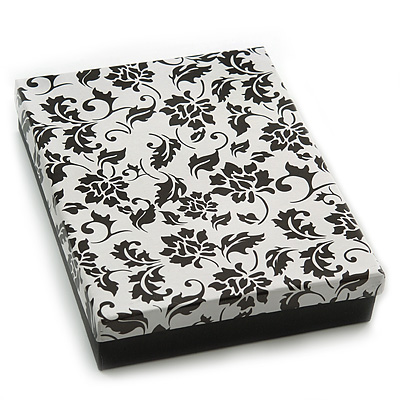 Black/White Card Pendant & Earrings Set Necklace & Earring Set/ Earring & Ring Set Box/