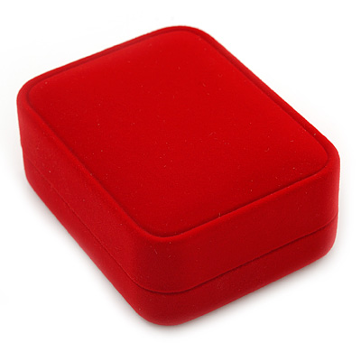 Luxury Red Velour Brooch/ Pendant/ Earring Jewellery Box - main view