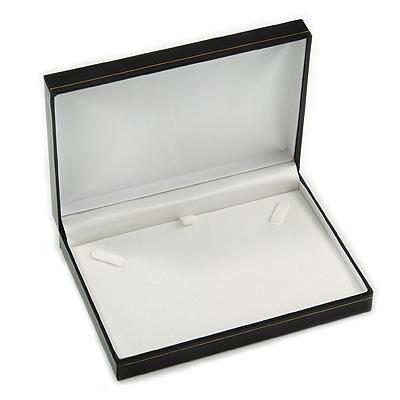 Large Luxury Black Leatherette Brooch/ Pendant/ Earrings/ Comb/ Set Jewellery Box