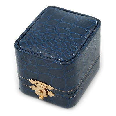 Victorian Style Dark Blue Snake Leatherette Box for Rings With Gold Tone Metal Closure