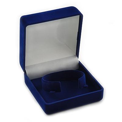 Blue Velour Flip Top Bracelet Box