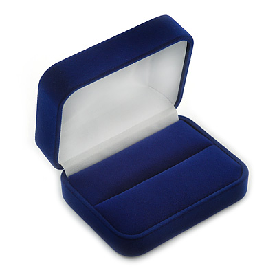 Luxury Dark Blue Velour Wedding Two Ring Box (Rings Are Not Included)