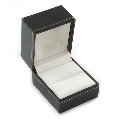 Large Black Leatherette Ring Box