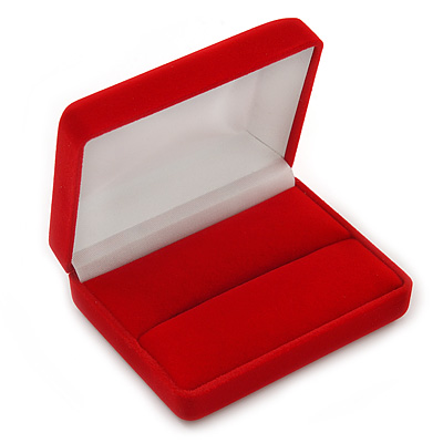 Luxury Red Velour Wedding Two Ring Box (Rings Are Not Included)