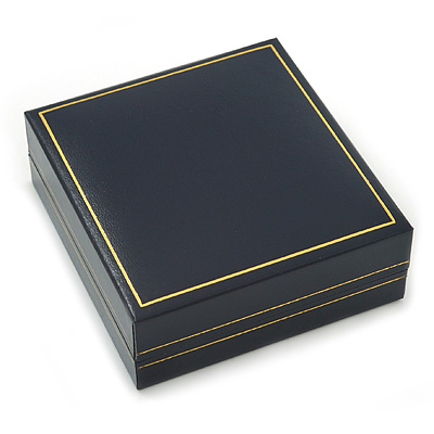 Large Luxury Square Dark Blue Leatherette Brooch/ Pendant/ Earrings Jewellery Box