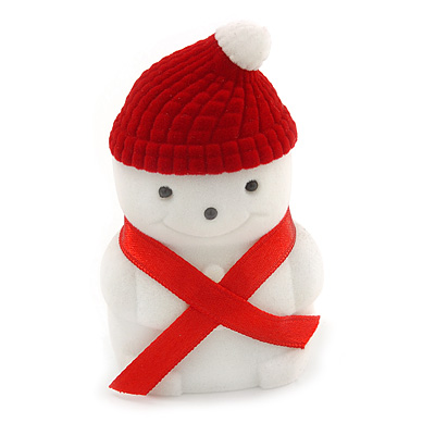 Red/ White Velour Christmas Snowman Jewellery Box For Ring/ Stud Earrings