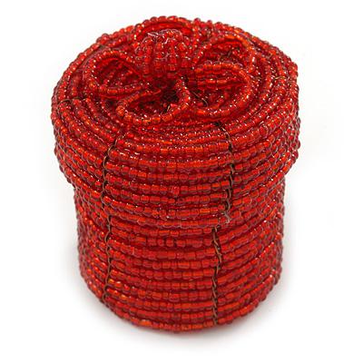 Ring/ Pendant/ Earrings Red Glass Bead Handmade Box