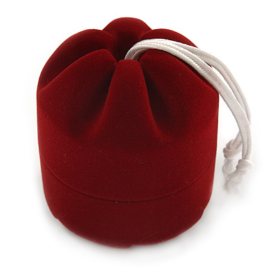 Burgundy Red Velour Pouch Jewellery Box For Small Ring/ Stud Earrings/ Pendant/ Small Brooch