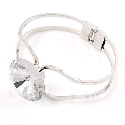 Jumbo Round-Cut Clear Crystal Bangle Bracelet