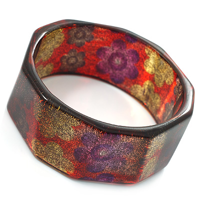 Multicoloured Plastic Glittering Floral Costume Bangle