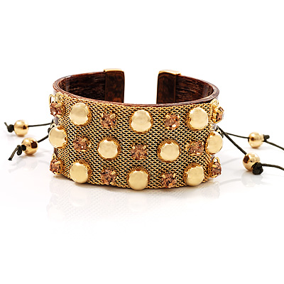 Brown Crystal Mesh Plastic Fashion Bangle Bracelet