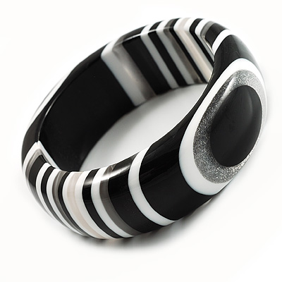 Geometrical Resin Bangle (Black & White)