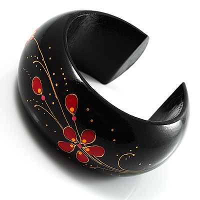 Black Wood Floral Cuff Bangle