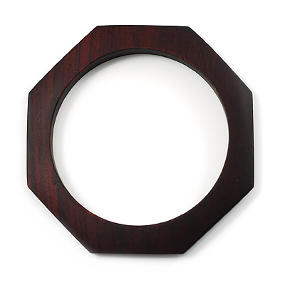 Thin Octagonal Wood Bangle (Dark Brown) - main view