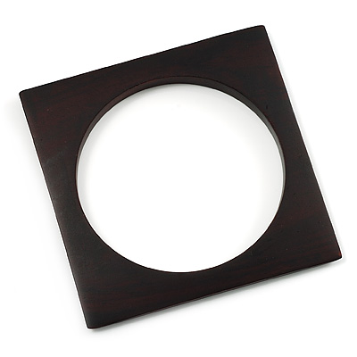 Thin Square Wood Bangle (Dark Brown)