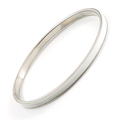 Snow White Thin Enamel Metal Bangle
