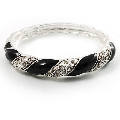 Black Enamel Twisted Hinged Bangle