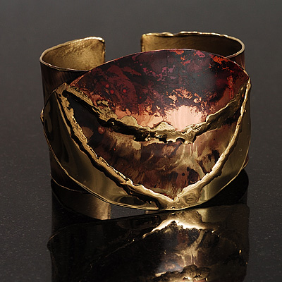 Brass Leaf Shaped Ethnic Cuff Bangle