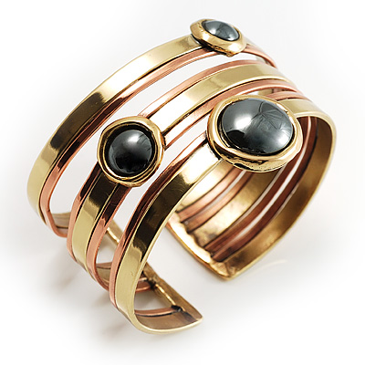 Two-Tone Geometric Hematite Ethnic Cuff Bangle - main view