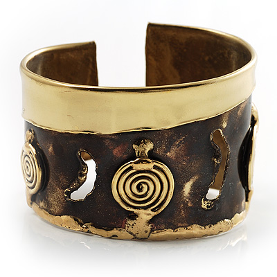 Swirl Pattern Asymmetrical Ethnic Cuff