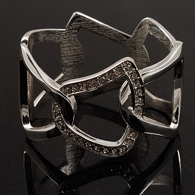 Rhodium Plated Geometrical Crystal Hinged Bangle