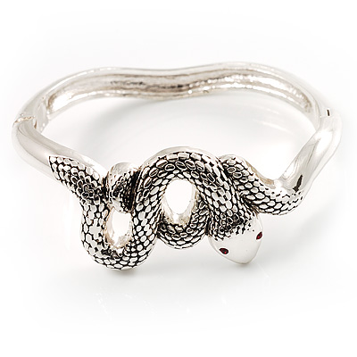 Silver Tone Snake Fashion Bangle Bracelet