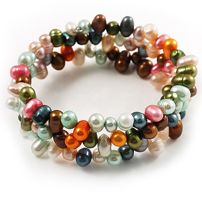 3 Strand Multicoloured Freshwater Pearl Wrap Bangle Bracelet (6mm)