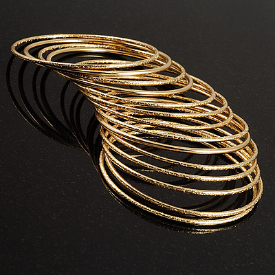 Textured Metal Bangles- Set of 14 (Gold Tone)