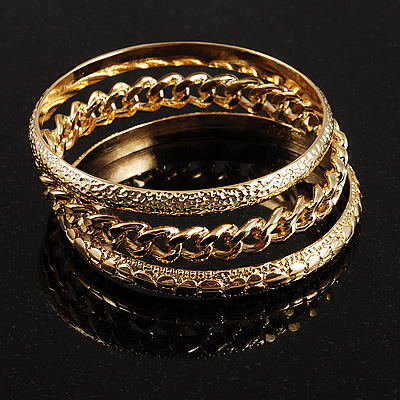 Patterned Metal Bangles - Set of 3 Pcs (Gold Tone)