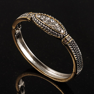Two-Tone Thin Vintage Crystal Hinge Bangle