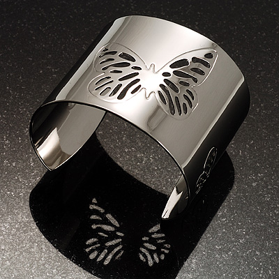 Rhodium Plated Wide Butterfly Cuff Bangle