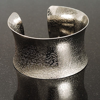 Silver Tone Wide Etched Cuff Bangle