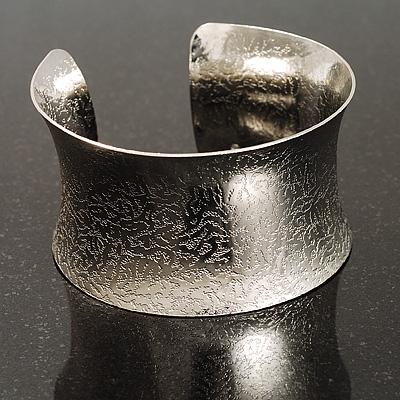 Silver Tone Wide Etched Cuff Bangle