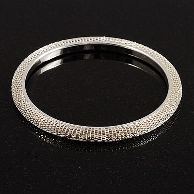 Slim Mesh Bangle (Silver Tone)