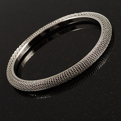 Slim Stainless Steel Mesh Bangle Bracelet