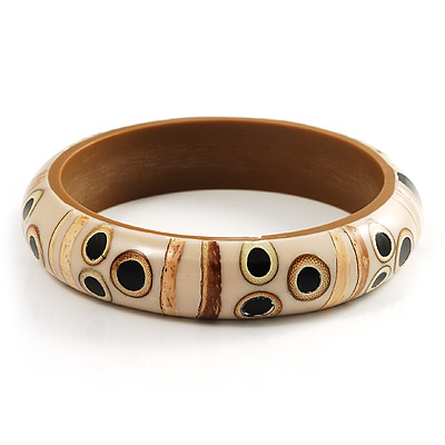 Resin Bamboo Spot/Stripe Shell Inlay Bangle (Cream&Beige)
