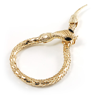 Gold Tone Mesmerized Fashion Snake Bangle Bracelet (18cm) - main view