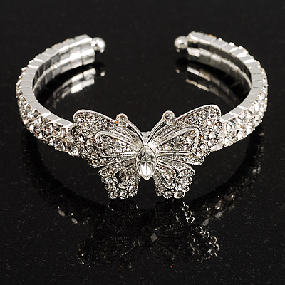 Diamante Butterfly Flex Bangle Bracelet - main view