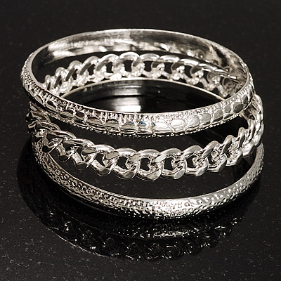 Patterned Metal Bangles - Set of 3 (Silver Tone) - main view