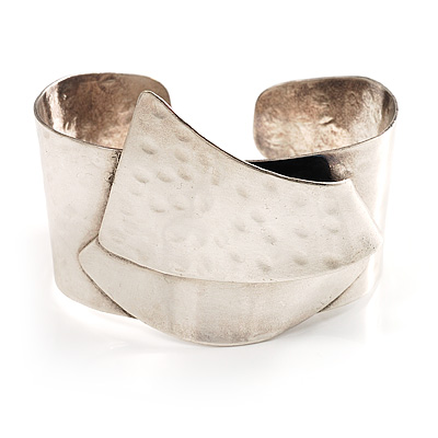 Hammered Stainless Steel Tribal Sail Cuff-Bangle - main view