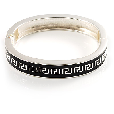 Greek Style Black Enamel Hinged Bangle