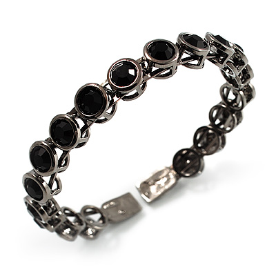 Stunning Black CZ Crystal Flex Bangle Bracelet (Black Tone)