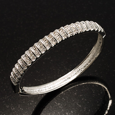 Slim Crystal Bangle Bracelet (Silver Tone) - main view