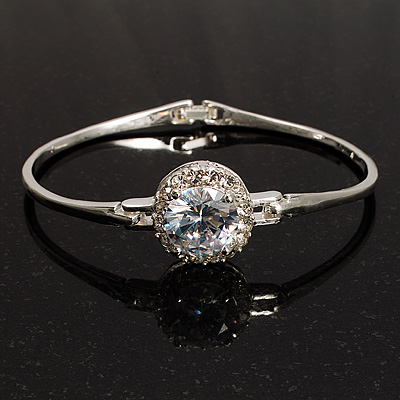 Classic CZ Crystal Bangle Bracelet (Silver&amp;Clear)