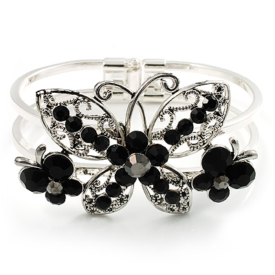 Swarovski Crystal Butterfly Hinged Bangle Bracelet (Silver&amp;Jet Black)