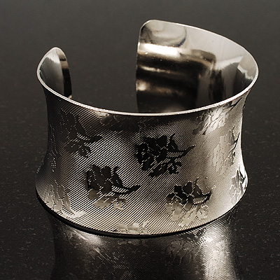 Silver Tone Wide Etched Floral Cuff Bangle - main view